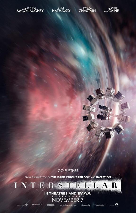 """A poster for the 2014 film """"Interstellar"""" shows the spaceship Endurance flying through a wormhole."""