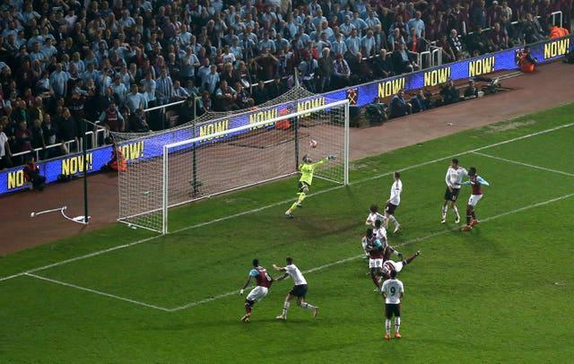 Winston Reid heads in the final goal scored at Upton Park in West Ham's 3-2 win over Manchester United