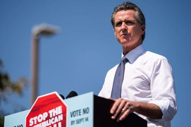 California Gov. Gavin Newsom (D) is expected to survive the recall effort on Tuesday. He benefited from a Republican opponent whom Democrats easily painted as extreme. (Photo: Kent Nishimura/Getty Images)