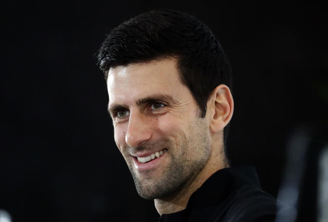 Tennis player Novak Djokovic of Serbia speaks during a press conference before the official launch of the ATP Tennis finals in London, Friday, Nov. 9, 2018.(AP Photo/Frank Augstein)
