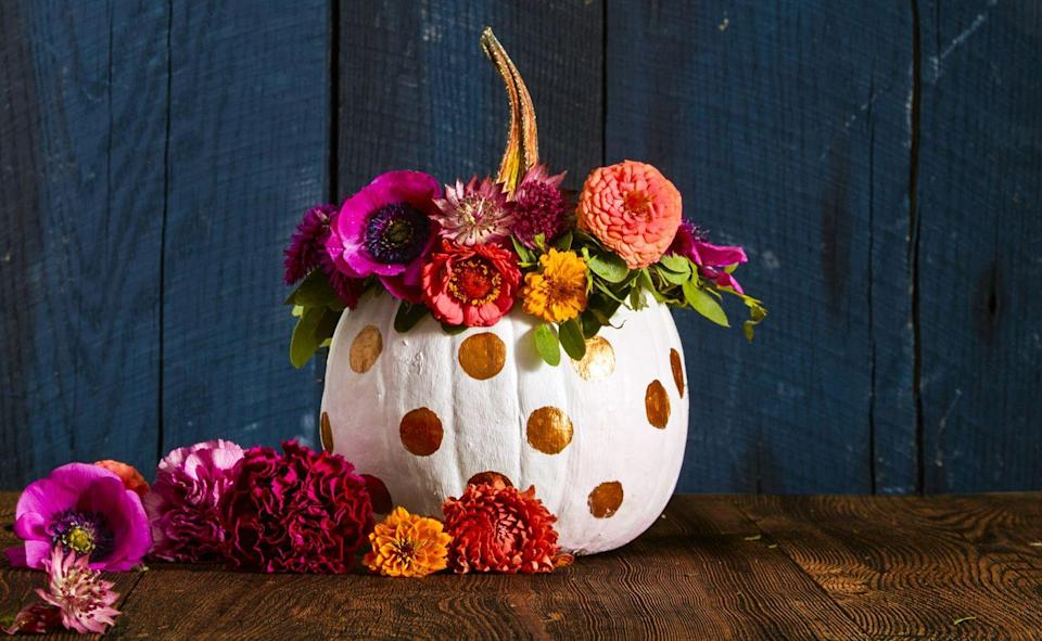 """<p>Give your gourd its very own flower crown. Shape sturdy floral wire into a wreath. Trim flowers, leaving two to three inches of stem. Attach stems and leafy greens with additional wire, twisting until secure. Crown your pumpkin, then hang with a stylish wall hook once the season is over. The blooms will still be lovely when dried!</p><p><a class=""""link rapid-noclick-resp"""" href=""""https://www.amazon.com/Darice-Paddle-Wire-22-Gauge-Green/dp/B001K7QAYM/?tag=syn-yahoo-20&ascsubtag=%5Bartid%7C10055.g.1714%5Bsrc%7Cyahoo-us"""" rel=""""nofollow noopener"""" target=""""_blank"""" data-ylk=""""slk:SHOP FLORAL WIRE"""">SHOP FLORAL WIRE</a></p>"""