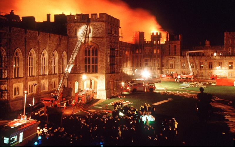 Windsor Castle fire in 1992 - Credit: Getty