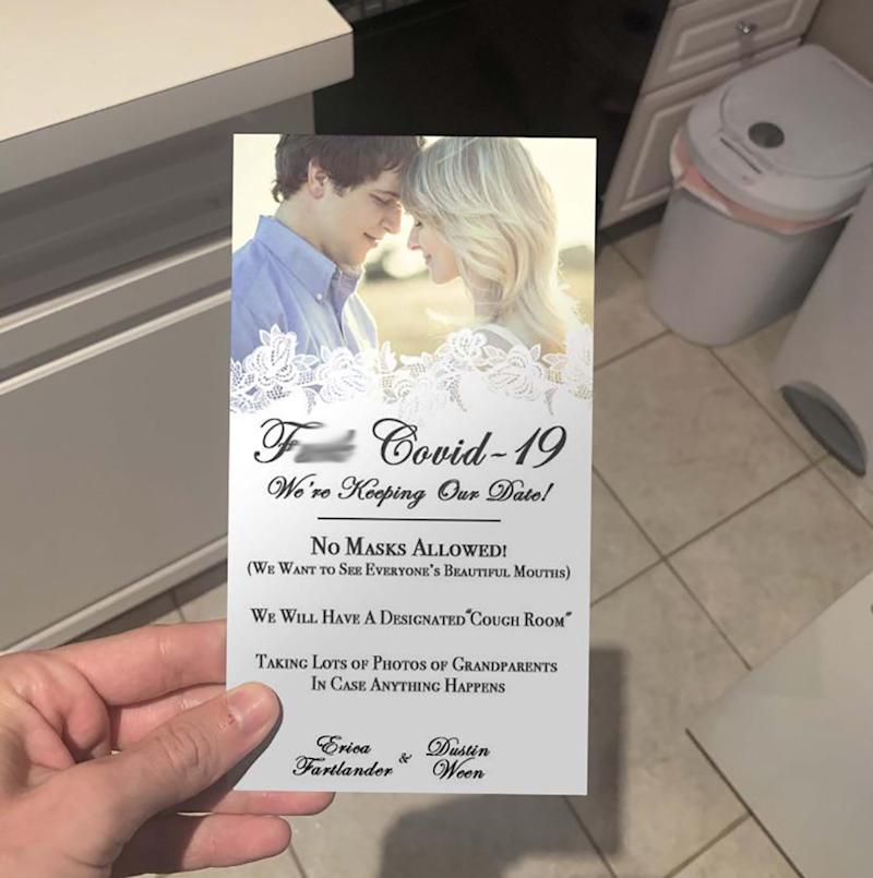 Joke coronavirus wedding invitation