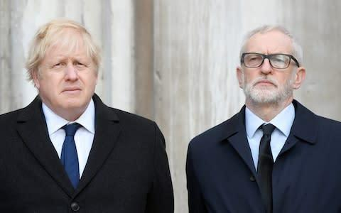 <span>Britain's Prime Minister Boris Johnson and Britain's opposition Labour Party leader Jeremy Corbyn attend a vigil </span> <span>Credit: Reuters </span>