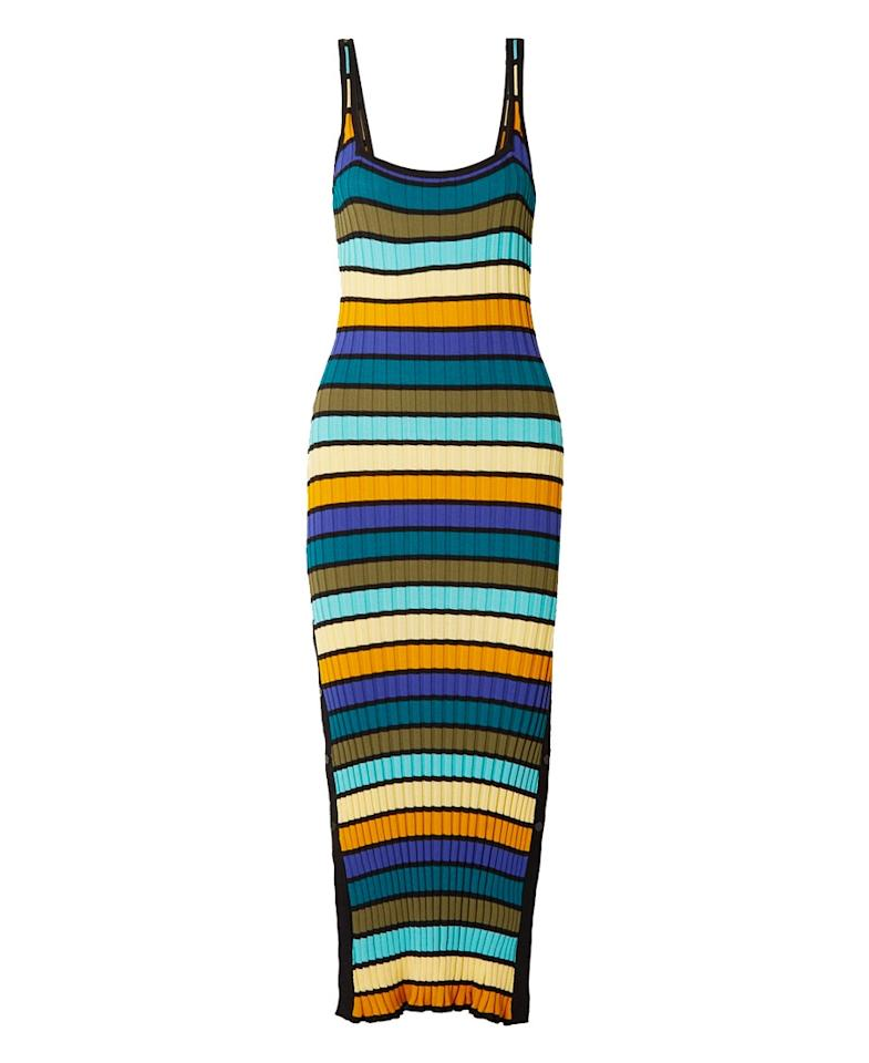 """$198, Solid & Striped. <a href=""""https://www.solidandstriped.com/collections/relaunch-all-beachwear/products/knit-tank-dress-multi-stripe"""">Get it now!</a>"""