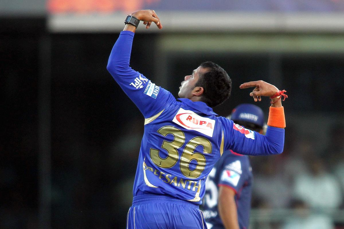 Sree Sreesanth of Rajasthan Royals celebrates after bowling Unmukt Chand of Delhi Daredevils during match 4 of the Pepsi Indian Premier League between Delhi Daredevils and the Rajasthan Royals held at the Feroz Shah Kotla Stadium, Delhi on the 6th April 2013..Photo by Shaun Roy-IPL-SPORTZPICS ..Use of this image is subject to the terms and conditions as outlined by the BCCI. These terms can be found by following this link:..https://ec.yimg.com/ec?url=http%3a%2f%2fwww.sportzpics.co.za%2fimage%2fI0000SoRagM2cIEc&t=1500893435&sig=vlUoJG5Yn0r2nvwCSRT_hw--~C