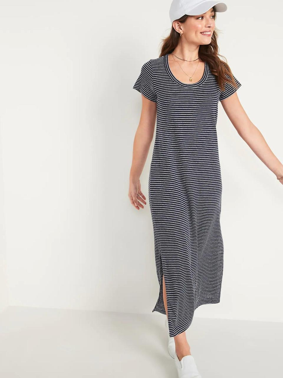 <p>Take your T-shirt dress into fall with the <span>Old Navy Striped Linen-Blend Maxi T-Shirt Shift Dress</span> ($35, originally $40). We're already planning on wearing it with our favorite sneakers.</p>