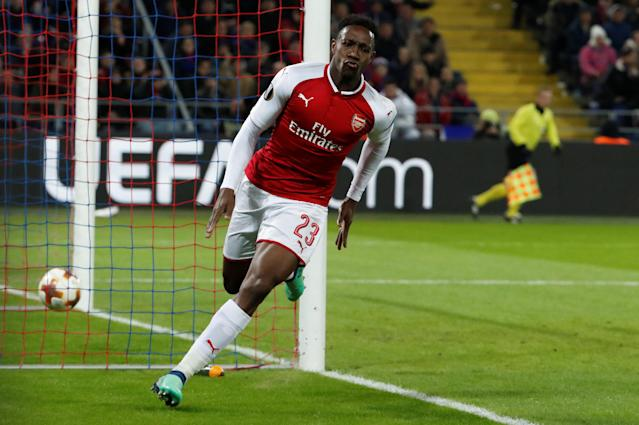Soccer Football - Europa League Quarter Final Second Leg - CSKA Moscow v Arsenal - VEB Arena, Moscow, Russia - April 12, 2018 Arsenal's Danny Welbeck celebrates scoring their first goal REUTERS/Grigory Dukor