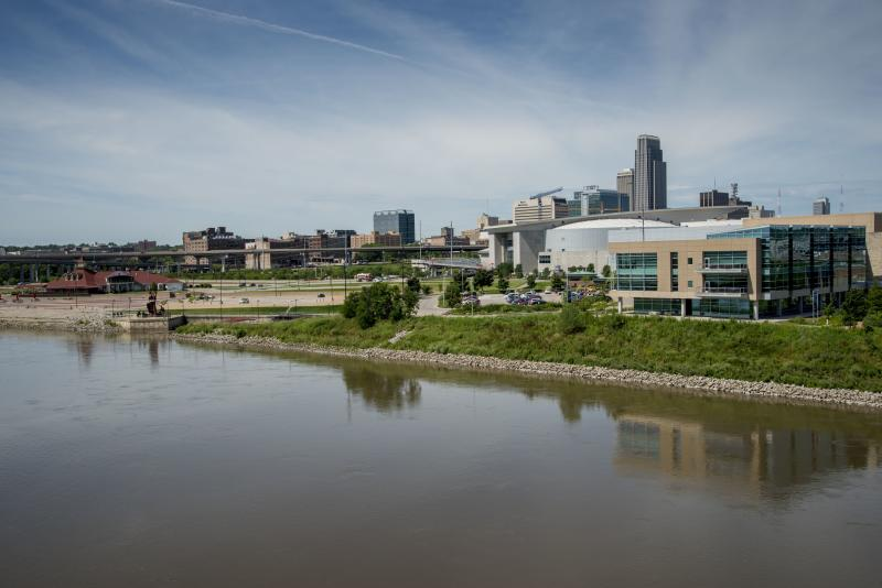 Skyline of Omaha on the Missouri river, Nebraska. (Photo by: Mike Siluk/Education Images/Universal Images Group via Getty Images)