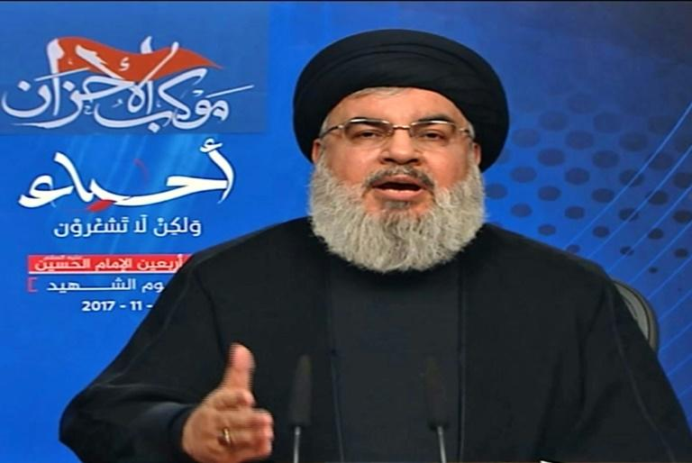 An image grab taken from Hezbollah's al-Manar TV on November 10, 2017 shows Hassan Nasrallah, the head of Lebanon's Shiite movement Hezbollah, giving a televised address from an undisclosed location in Lebanon