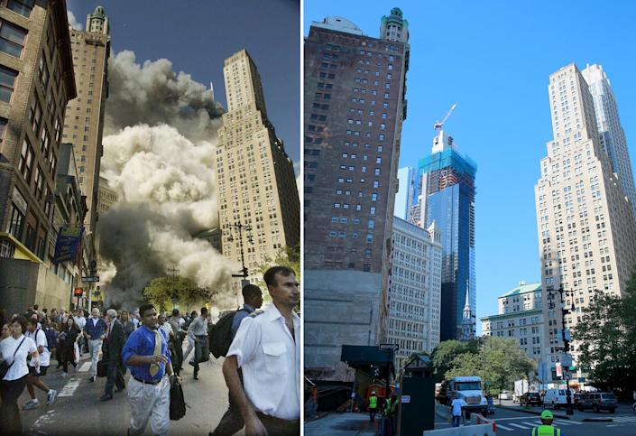 <p>Pedestrians on Park Row flee the area of the World Trade Center as the center's south tower collapses following the terrorist attack on the New York landmark, Sept. 11, 2001, left; buildings that housed J&R Music World and J&R Computer World for 45 years have been demolished for residential housing on Park Row in New York City, Aug. 29, 2016. (Photos: Amy Sancetta/AP; Gordon Donovan/Yahoo News) </p>