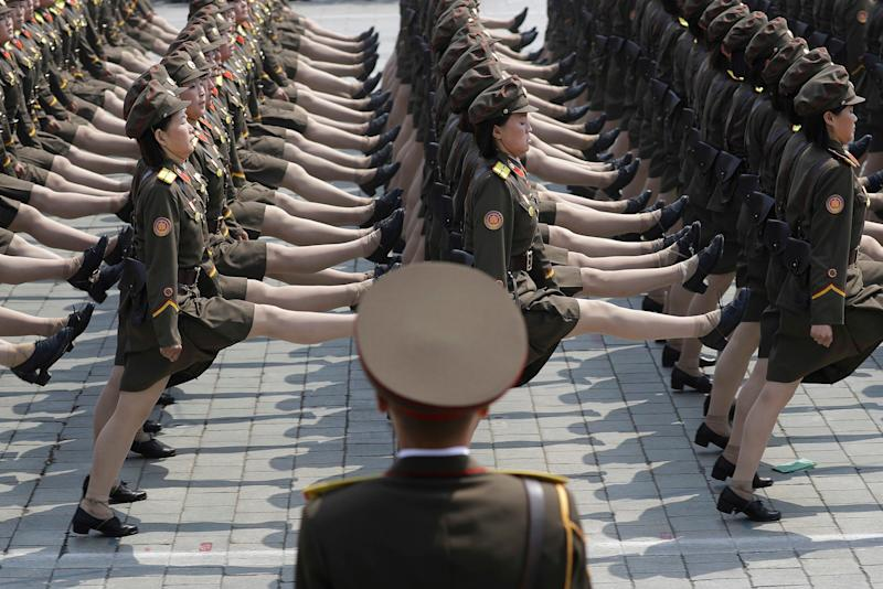 North Korean women soldiers - Credit: AP Photo/Wong Maye-E