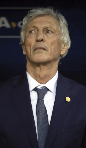 Colombia head coach Jose Pekerman prior to the group H match between Poland and Colombia at the 2018 soccer World Cup at the Kazan Arena in Kazan, Russia, Sunday, June 24, 2018. (AP Photo/Thanassis Stavrakis)