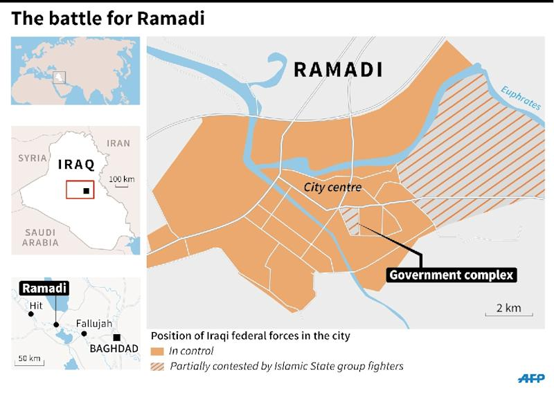 Updated map showing the battle for Ramadi, where Iraqi government troops began to extend their control over the city on Sunday. 135 x 67 mm (AFP Photo/Maud ZABA)