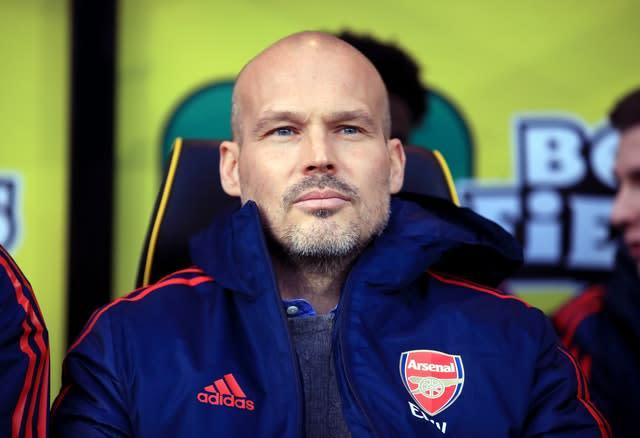 Freddie Ljungberg saw his first game as Arsenal interim manager end in a 2-2 draw (Adam Davy/PA)