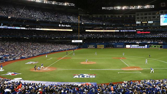 Ice blowing off Toronto's CN Tower damaged the roof of the Rogers Centre, forcing postponement of Monday's game against the Royals.