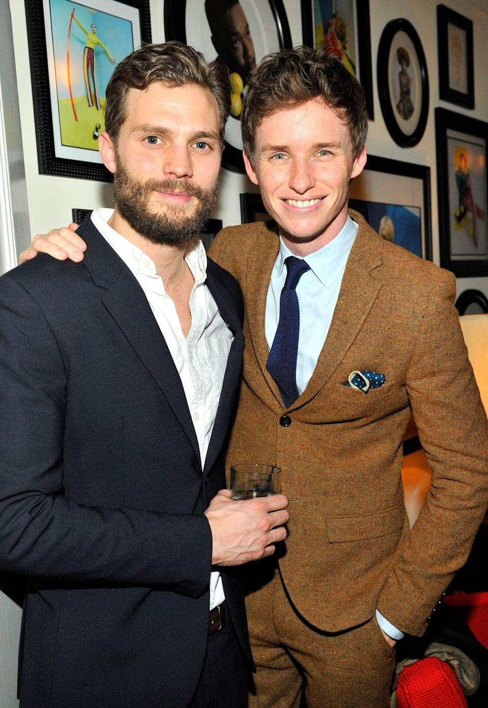 """<p>The <em>Fifty Shades of Grey</em> star recently revealed that he and Redmayne <a href=""""http://www.dailymail.co.uk/tvshowbiz/article-2952760/Jamie-Dornan-reveals-shared-apartment-Eddie-Redmayne-struggling-actors-LA.html"""" rel=""""nofollow noopener"""" target=""""_blank"""" data-ylk=""""slk:shared an apartment"""" class=""""link rapid-noclick-resp"""">shared an apartment</a> when they were struggling actors. On <em>Live! With Kelly and Michael</em>, Dornan said, """"When we were fresh off the boat in L.A., someone from the agency dropped scripts for us. Must have been like 25 scripts in my pile and three in his."""" He explained that it just meant more failures for him—though the two have since seen success.</p>"""