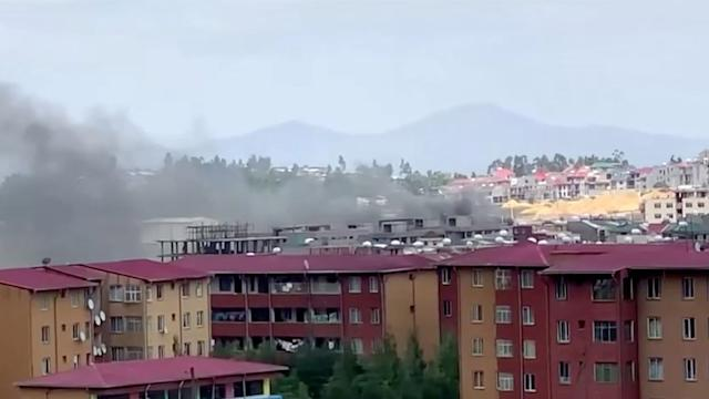 Smoke was visible after protests in Addis Ababa on Tuesday