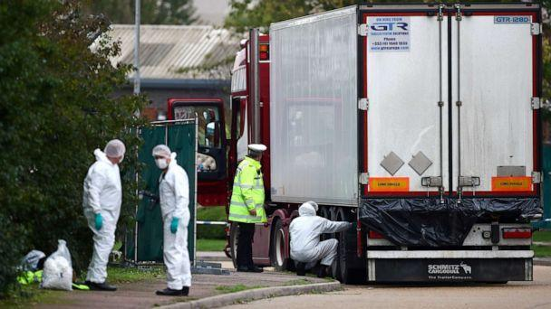 PHOTO: Police are seen at the scene where bodies were discovered in a lorry container, in Grays, Essex, Britain October 23, 2019. REUTERS/Hannah McKay (Hannah Mckay/Reuters)