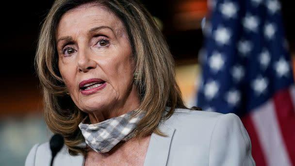 PHOTO: House Speaker Nancy Pelosi speaks during her weekly news conference on Capitol Hill in Washington, Aug. 13, 2020. (Sarah Silbiger/Reuters, FILE)
