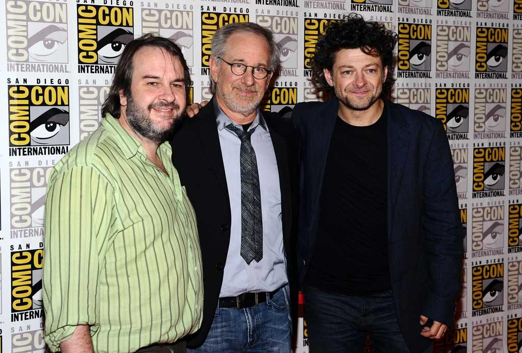 """<a href=""""http://movies.yahoo.com/movie/contributor/1800031300"""">Peter Jackson</a>, <a href=""""http://movies.yahoo.com/movie/contributor/1800010823"""">Steve Spielberg</a> and <a href=""""http://movies.yahoo.com/movie/contributor/1800294245"""">Andy Serkis</a> attend <a href=""""http://movies.yahoo.com/movie/1810091323/info"""">The Adventures of Tintin</a> during Comic-Con 2011 at San Diego Convention Center on July 22, 2011 in San Diego, California."""