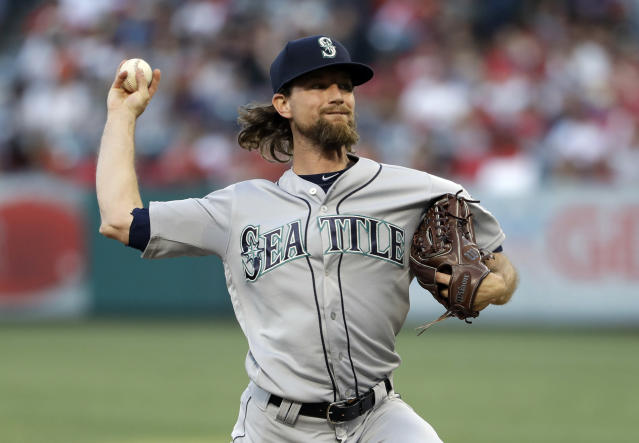 Seattle Mariners starting pitcher Mike Leake throws to the Los Angeles Angels during the first inning of a baseball game Friday, July 12, 2019, in Anaheim, Calif. (AP Photo/Marcio Jose Sanchez)