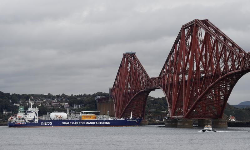 The tanker carrying the first shipment of U.S. shale gas reverses under the Forth Bridge as it travels to dock at Grangemouth in Scotland