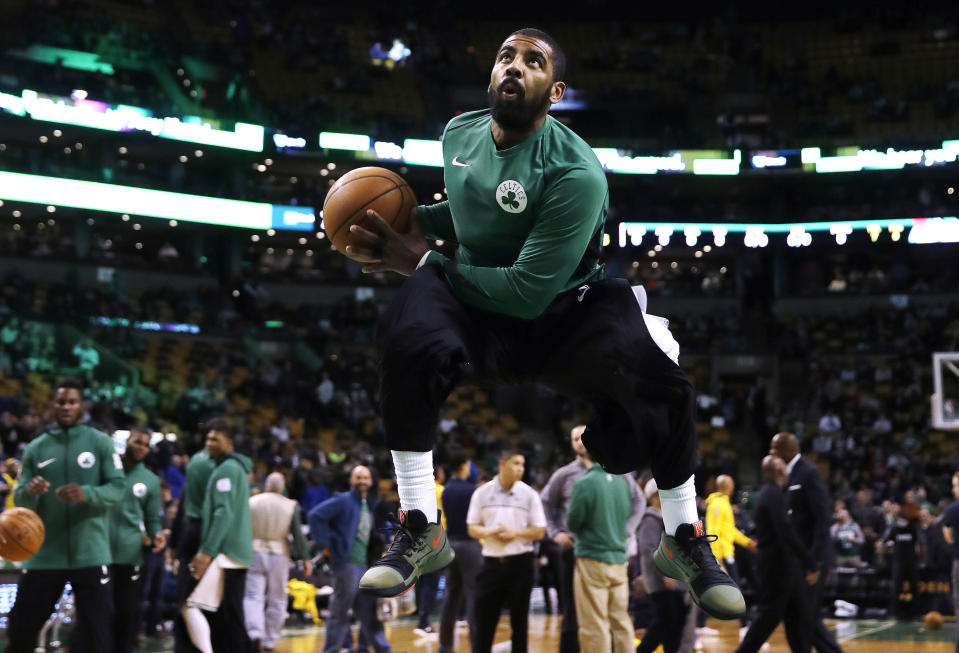 """<a class=""""link rapid-noclick-resp"""" href=""""/nba/players/4840/"""" data-ylk=""""slk:Kyrie Irving"""">Kyrie Irving</a> operates in his own space now. (AP)"""