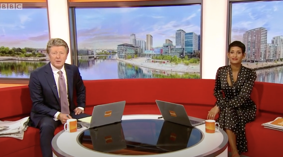 BBC Breakfast presenters Charlie Stayt and Naga Munchetty have been criticised for their comments about ministers using Union flags in interviews. (BBC)