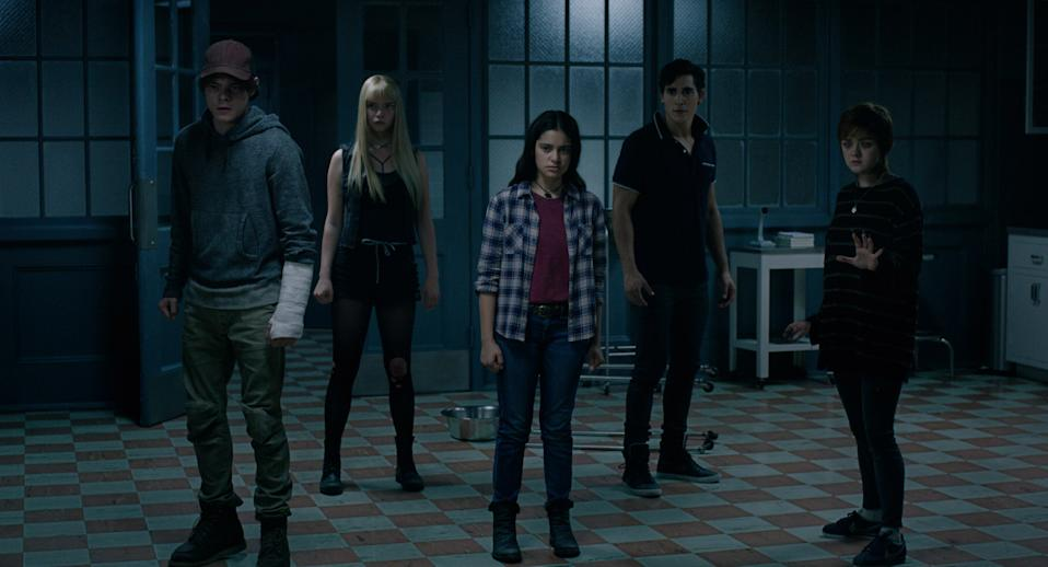 L-R: Charlie Heaton, Anya Taylor-Joy, Blu Hunt, Henry Zaga and Maisie Williams in a still from <i>The New Mutants</i>.(Twentieth Century Studios)