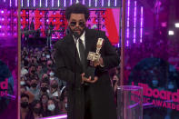 In this video image provided by NBC, The Weeknd accepts the top artist award during the Billboard Music Awards on Sunday, May 23, 2021. (NBC via AP)