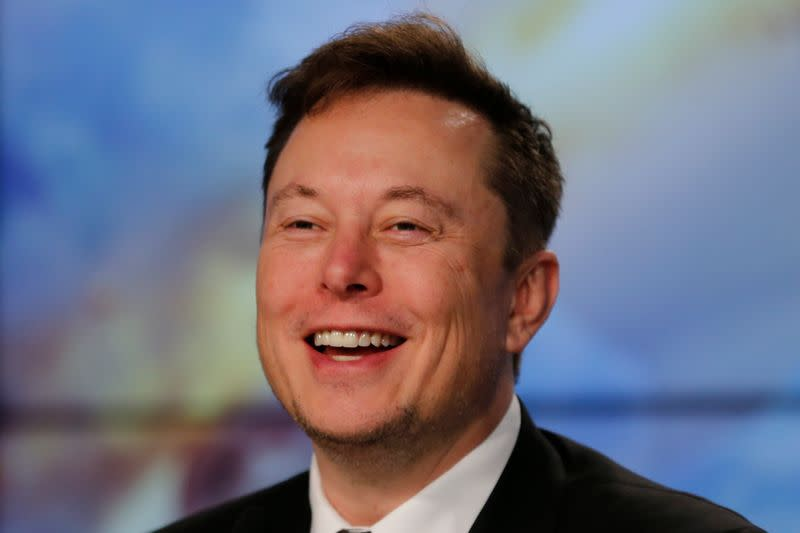 SpaceX founder and chief engineer Elon Musk speaks at a post-launch news conference to discuss the SpaceX Crew Dragon astronaut capsule in-flight abort test at the Kennedy Space Center