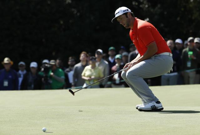Jon Rahm of Spain misses a birdie putt on the 6th hole during final round play of the 2018 Masters golf tournament at the Augusta National Golf Club in Augusta, Georgia, U.S. April 8, 2018. REUTERS/Jonathan Ernst