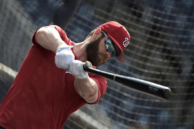 Nationals outfielder Bryce Harper -- shown here at practice -- is one of Major League Baseball's major stars, but also represents a trend: most of the sport's starting players are white (AFP Photo/Eric BARADAT)