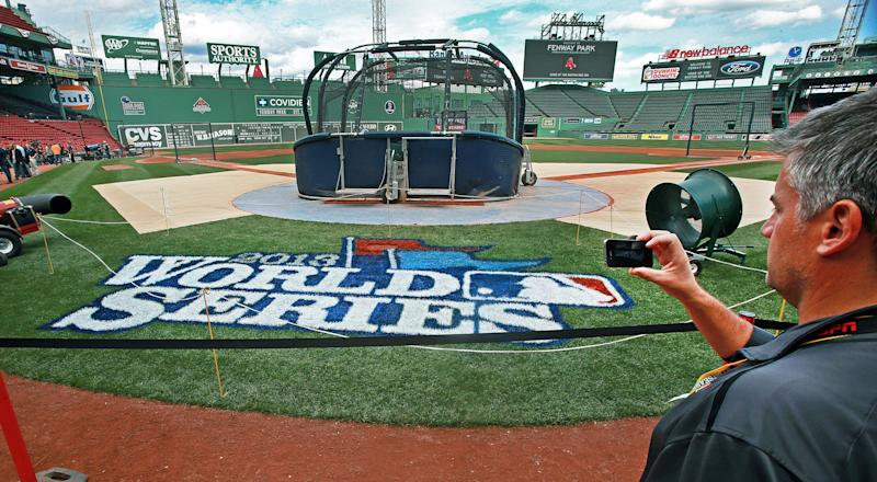 World Series logo in Boston.