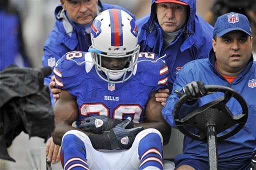 Buffalo Bills running back C.J. Spiller (28) is taken to the locker room after injuring his shoulder in the first quarter of an NFL football game against the Cleveland Browns, Sunday, Sept. 23, 2012, in Cleveland. (AP Photo/David Richard)