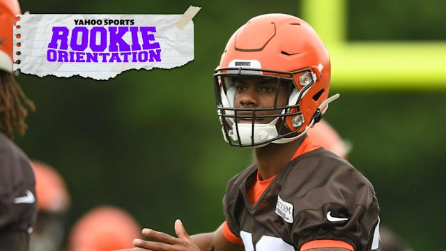 "<a class=""link rapid-noclick-resp"" href=""/nfl/teams/cleveland/"" data-ylk=""slk:Cleveland Browns"">Cleveland Browns</a> cornerback Greedy Williams is the subject of Rookie Orientation, hosted by Matt Harmon. (Photo by: 2019 Nick Cammett/Diamond Images/Getty Images)"