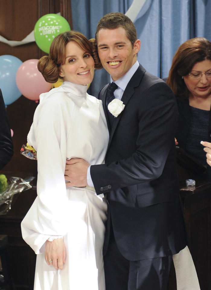 The wedding of Liz Lemon (Tina Fey) and Criss Chros (James Marsden) on ?30 Rock? (2012).