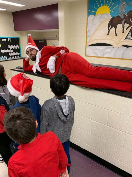PHOTO: Terry Vaughn, the principal at Kensington Elementary school in North Carolina, dressed up as a real-life 'Elf on a Shelf' ahead of the school's winter break. (Union County Schools)