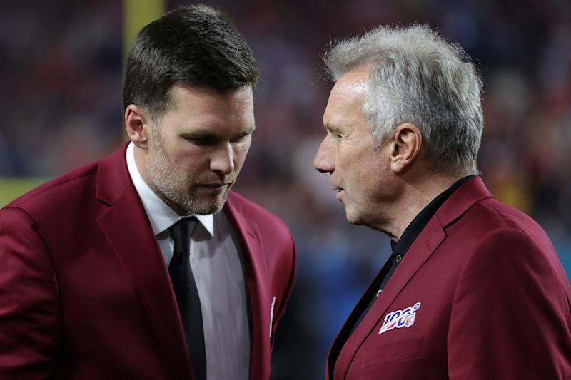 MIAMI, FLORIDA - FEBRUARY 02: Tom Brady of the New England Patriots talks with Hall of Famer Joe Montana prior to Super Bowl LIV between the San Francisco 49ers and the Kansas City Chiefs at Hard Rock Stadium on February 02, 2020 in Miami, Florida. (Photo by Maddie Meyer/Getty Images)