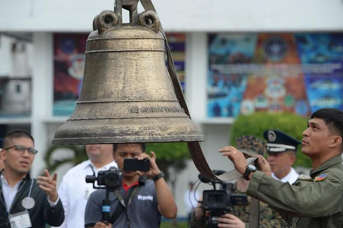 The bells will be sent back later this week to the church in the central town of Balangiga where they were looted by US soldiers avenging a surprise attack that killed 48 of their comrades on September 28, 1901 (AFP Photo/TED ALJIBE)
