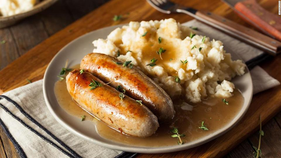"<p>Homemade Bangers and Mash with Herbs and Gravy</p><div class=""cnn--image__credit""><em><small>Credit: Shutterstock / Shutterstock</small></em></div>"