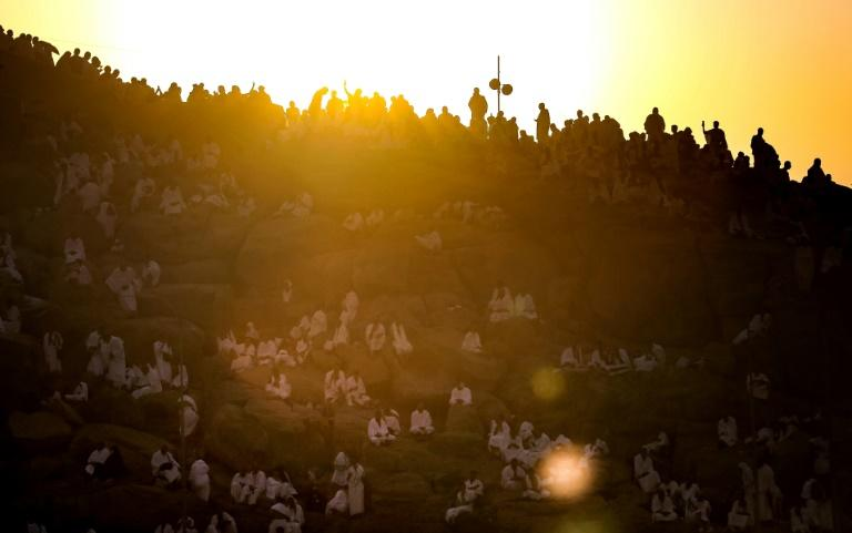 Muslim pilgrims gather on Mount Arafat southeast of the Saudi holy city of Mecca for the highlight of the hajj on August 20, 2018