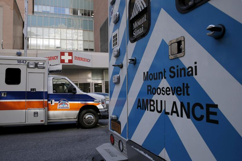 Ambulances are parked outside the emergency room entrance at Mount Sinai West, Roosevelt Hospital in midtown Manhattan, New York, U.S. February 27, 2016. REUTERS/Brendan McDermid/File Photo