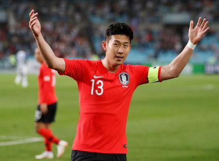 Soccer Football - International Friendly - South Korea vs Honduras - Daegu Stadium, Daegu, South Korea - May 28, 2018 South Korea's Son Heung-Min celebrates scoring their first goal REUTERS/Kim Hong-Ji