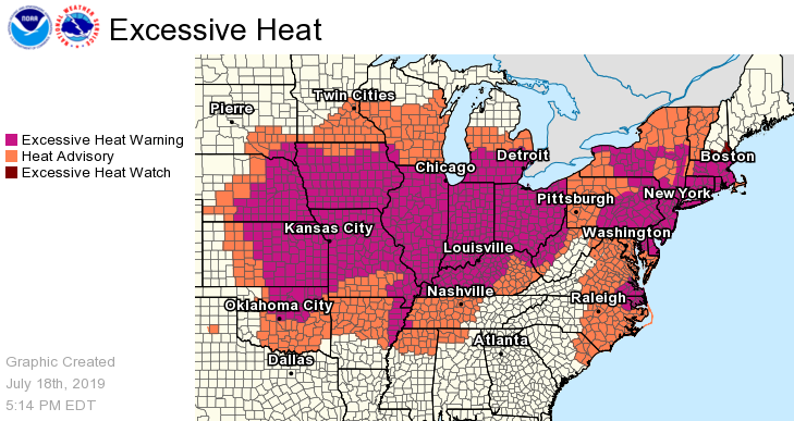"""Up to 195 million Americans are set to swelter through a """"dangerous and widespread"""" heat wave that will bake two thirds of the continental United States this weekend.   National Weather Service"""