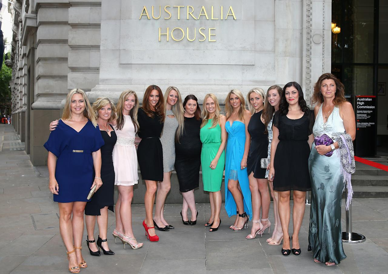 LONDON, ENGLAND - JULY 16:  The wives and partners of Australian players and officials pose outside the Australian Cricket Team visit to the Australian High Commision on July 16, 2013 in London, England.  (Photo by Ryan Pierse/Getty Images)