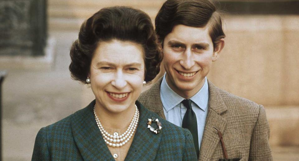 Queen Elizabeth II with Prince Charles at Windsor Castle
