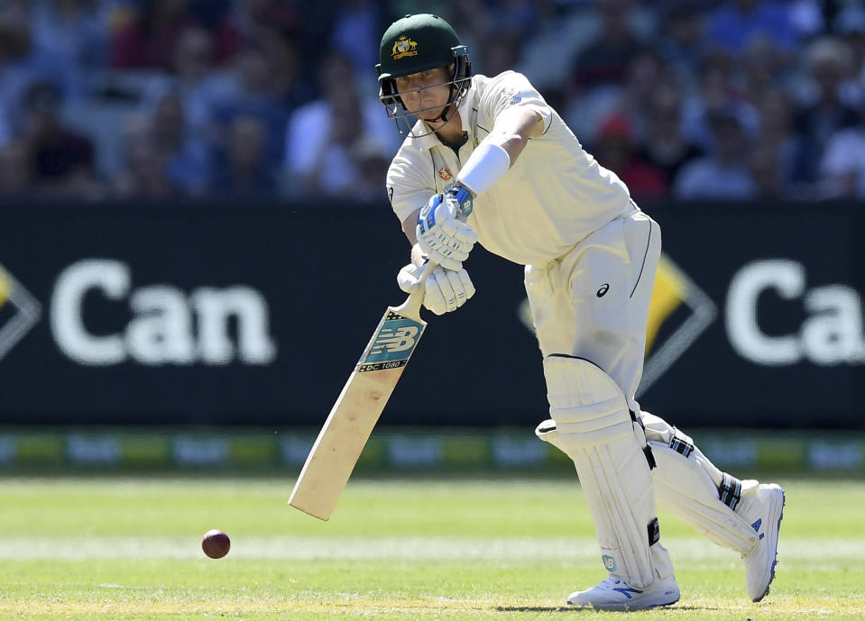 FILE - In this Dec. 26, 2019, file photo, Australia's Steve Smith bats against New Zealand during their cricket test match in Melbourne, Australia. Smith said Tuesday, Nov. 24, 2020, he spent extra time in the nets in quarantine and reckons it has helped him rediscover his peak technique in time to face India. (AP Photo/Andy Brownbill, File)