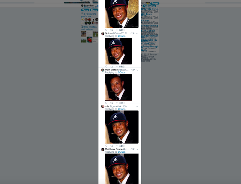 8587fa7a16c4d Atlanta Braves Twitter has a deeply strange fixation with Tiger Woods